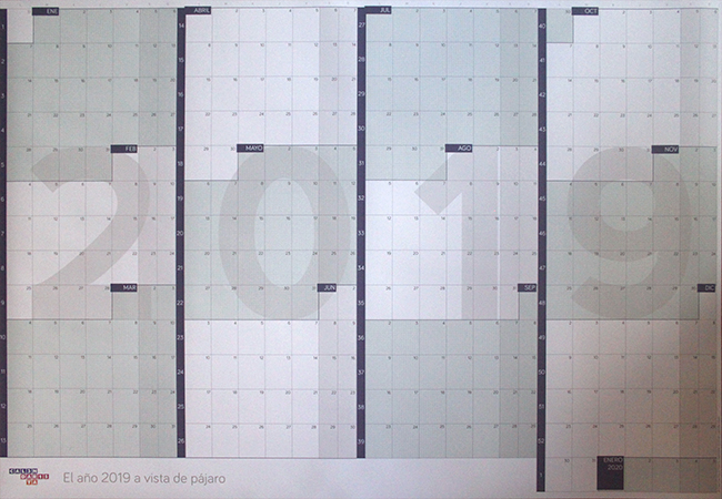 Calendario gigante de pared a año vista 2019