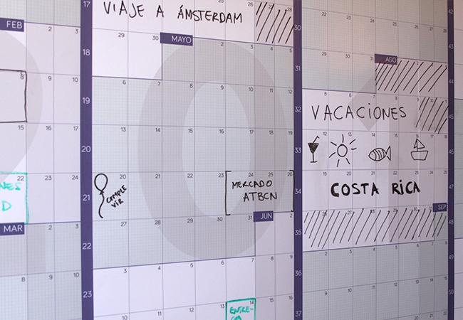 Calendario gigante de pared a año vista 2019 reescribible