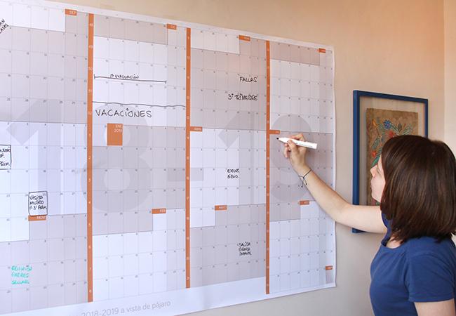 Calendario gigante escolar académico de pared a año vista 2018 2019 reescribible